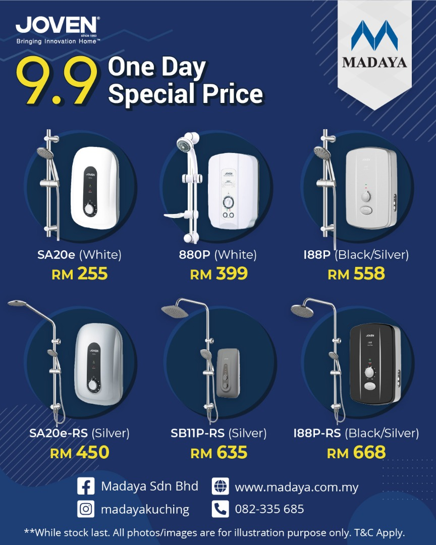 9.9 Special Day promotion for JOVEN water heater